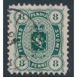 FINLAND - 1875 8Pen dark green Coat of Arms, perf. 11:11, used – Facit # 14Sc