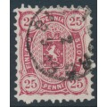 FINLAND - 1879 25Pen reddish carmine Coat of Arms, perf. 11:11, used – Facit # 17Sa