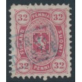 FINLAND - 1875 32Pen dull light rose Coat of Arms, perf. 11:11, used – Facit # 18Saxx
