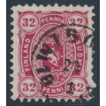 FINLAND - 1875 32Pen deep red-carmine Coat of Arms, perf. 11:11, used – Facit # 18See