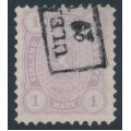 FINLAND - 1877 1Mark lilac Coat of Arms, perf. 11:11, used – Facit # 19Sb