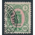 FINLAND - 1890 5Mk green/pink Coat of Arms, used – Facit # 33