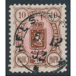 FINLAND - 1890 10Mk brown/pink Coat of Arms, used – Facit # 34