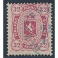 FINLAND - 1875 32Pen carmine Arms, perf. 14:13½, Copenhagen printing, used – Facit # 11
