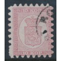 FINLAND - 1864 10Kop rose Coat of Arms, roulette I, narrow-spaced stamps, used – Facit # 4C1Kb