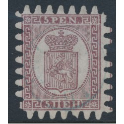 FINLAND - 1870 5Pen lilac-brown Coat of Arms, roulette III, pale lilac laid paper, used – Facit # 5v1C3c