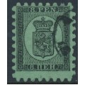 FINLAND - 1872 8Pen black Coat of Arms, roulette I, yellow-green paper, used – Facit # 6v3C1