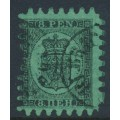 FINLAND - 1866 8Pen black Coat of Arms, roulette II, green paper, used – Facit # 6v1C2