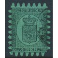 FINLAND - 1867 8Pen black Coat of Arms, roulette III, green paper, used – Facit # 6v1C3