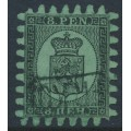 FINLAND - 1872 8Pen black Coat of Arms, roulette III, yellow-green paper, used – Facit # 6v3C3