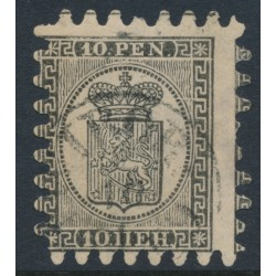 FINLAND - 1866 10Pen black Coat of Arms, roulette II, fawn laid paper, used – Facit # 7v1C2