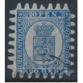 FINLAND - 1867 20Pen blue Coat of Arms, roulette III, grey-blue paper, used – Facit # 8v2C3