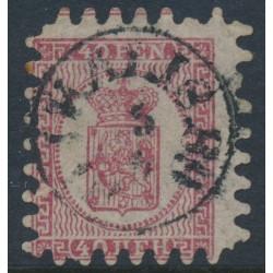 FINLAND - 1866 40Pen carmine Coat of Arms, roulette II, pale rose paper, used – Facit # 9v1C2