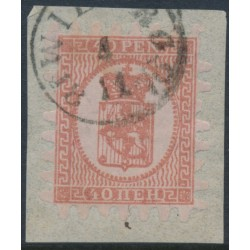 FINLAND - 1872 40Pen dull red Coat of Arms, roulette II, reddish lilac ribbed paper, used – Facit # 9v6C2