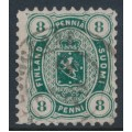 FINLAND - 1875 8Pen dark green Coat of Arms, perf. 11:11, used – Facit # 14Sd
