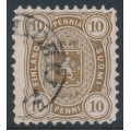 FINLAND - 1881 10Pen olive-brown Coat of Arms, perf. 11:11, used – Facit # 15SC¹a