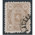 FINLAND - 1881 10Pen yellowish olive-brown Coat of Arms, perf. 11:11, used – Facit # 15SC¹b