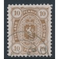 FINLAND - 1882 10Pen yellowish olive-brown Coat of Arms, perf. 12½:12½, used – Facit # 15SC²c
