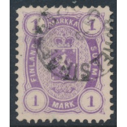 FINLAND - 1882 1Mk reddish violet Coat of Arms, perf. 12½:12½, used – Facit # 19LC²a