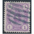 FINLAND - 1882 1Mk violet Coat of Arms, perf. 12½:12½, used – Facit # 19LC²b