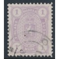 FINLAND - 1883 1Mk lilac Coat of Arms, perf. 12½:12½, used – Facit # 19LC²c