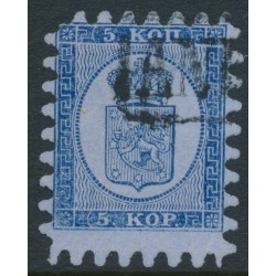 FINLAND - 1865 5Kop violet-blue on pale grey-blue Coat of Arms, roulette II, used – Facit # 3C2b