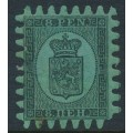 FINLAND - 1872 8Pen black Coat of Arms, roulette II, yellow-green ordinary paper, MH – Facit # 6C2v3