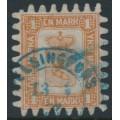 FINLAND - 1867 1Mk brown Coat of Arms, roulette III, white paper, used – Facit # 10C3a
