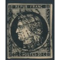 FRANCE - 1849 20c black Cérès on yellowish paper, imperforate, used – Michel # 3y