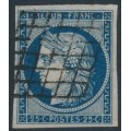 FRANCE - 1850 25c blue Cérès on white paper, imperforate, used – Michel # 4a