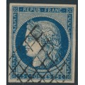 FRANCE - 1850 25c blue Cérès on yellowish paper, imperforate, used – Michel # 4c