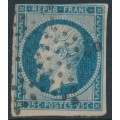 FRANCE - 1852 25c blue President Napoléon, imperforate, used – Michel # 9a