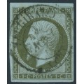 FRANCE - 1860 1c bronze-olive on bluish paper Emperor Napoléon, imperforate, used – Michel # 10b