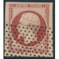 FRANCE - 1853 80c carmine on buff paper Emperor Napoléon, imperforate, used – Michel # 16b