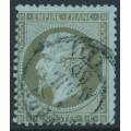 FRANCE - 1862 1c greenish bronze on bluish paper Emperor Napoléon, perf. 14:13½, used – Michel # 18b