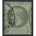 FRANCE - 1870 1c olive-green on blue Emperor Napoléon with laurel wreath, perf. 14:13½, used – Michel # 24