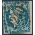 FRANCE - 1870 20c blue Cérès, type II (Bordeaux printing), imperforate, used – Michel # 41II