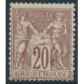 FRANCE - 1876 20c red-brown on yellowish paper Peace & Commerce, used – Michel # 62I