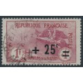FRANCE - 1922 1Fr+25c carmine/rose War Widows Charity, used – Michel # 150