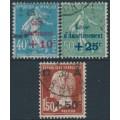 FRANCE - 1927 Caisse d'Amortissement overprints set of 3, used – Michel # 226-228