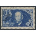 FRANCE - 1938 50Fr blue Clément Ader (thin paper), used – Michel # 425a
