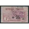 FRANCE - 1922 1Fr+25c carmine/rose War Orphans Charity, used – Michel # 150