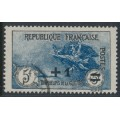 FRANCE - 1922 5Fr+1Fr blue/black War Widows Charity, used – Michel # 151