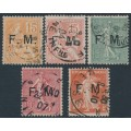 FRANCE - 1901-1907 the first five Military Post stamps, FM overprint, used – Michel # M1-M5