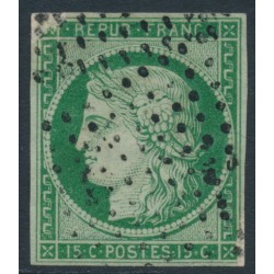 FRANCE - 1850 15c green Cérès, imperforate, used – Michel # 2a