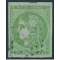 FRANCE - 1870 5c green Cérès (Bordeaux printing), imperforate, used – Michel # 39a