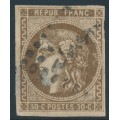 FRANCE - 1870 30c brown Cérès (Bordeaux printing), imperforate, used – Michel # 42a