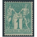 FRANCE - 1876 1c green Peace & Commerce (type I), MNG – Michel # 56I
