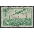 FRANCE - 1936 50Fr yellow-green Airmail, used – Michel # 311a
