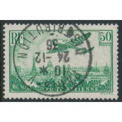 FRANCE - 1936 50Fr deep green Airmail, used – Michel # 311b